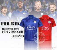 Wholesale 16 Kid s Leicester City soccer Jerseys VARDY Home Blue Away Red MAHREZ DRINKWATER OKAZAKI football shirt with shorts