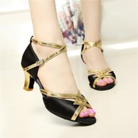 Wholesale Ms adult professional dance shoes with soft bottom satin cm in Latin shoes ballroom dancing shoes GB Square Dance
