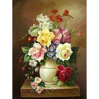 antique rose vase - 2016 Sale Kits home decor for Embroidery Diy Diamond Painting Yellow rose vase Handicraft Inlay Fabric X60CM HWC