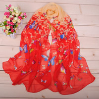Wholesale Colorful butterfly chiffon scarves flower new design silk scarf flower print hot sell pashmina shawl warp headband scarf GL SX017