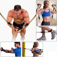 Wholesale pc in set Rubber Latex Fitness Resistance BandsTubes Practical Elastic Training Rope Yoga Pull Rope Sports fitness equipment