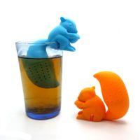 Wholesale High Quality Cute Squirrel Tea Strainer Silicone loose leaf Tea Infuser Filter Diffuser Fun Tea Accessories