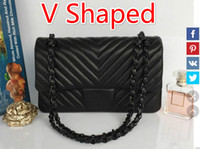animal shaped candy - 94305 black Sheepskin black chain V Shaped Double Flap Chain Bag Women Tote Shoulder Cross body Handbag Black Gold Hardware