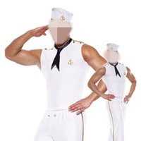 adult male halloween costumes - Men Costume Halloween Sexy White Male Sailor Uniform Cosplay Costume For Halloween Outfit For Adult