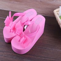 Wholesale 2016 Summer Bowknot Shoes Woman Sandals sapato feminino Hawaii Beach Flat Wedge Flip Flops Lady Slipper sandalias mujer