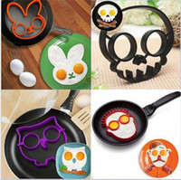 Wholesale 100pcs Cooked Fried egg Skull owl shaper silicone moulds egg ring silicone mold cooking tools christmas supplies Fried Egg Mold Pancake A027