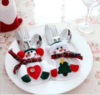 Wholesale Christmas Table Decorations Knife Fork Tablespoons Tableware Sets Santa Creative Small Snowman Home Sleeve Xmas New Year Gifts