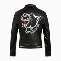 best prices motorcycles - Best Price New Design Autumn Fashion Men s Embroidery Tiger Head Big Skull Motorcycle Leather Jacket Coat M XL