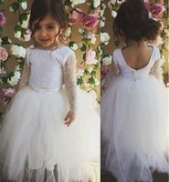 beauty hands charmed - Charming Vintage White Long Lace Sleeve Flower Girl Dresses Lovely Kids Tutu Dress Girls Beauty Pageant Dresses