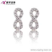 alphabet cups - Number Eight Zirconia Ear Studs European Cup Style Rhodium Plated Jewelry Earrings For Women Xuping Brand Copper Earring Studs
