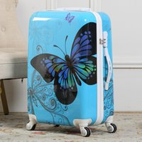 Wholesale 20 Women Butterfly Rolling Luggage Girl Vintage Design ABS Trolley Boarding Bags Hardside Suitcase On Wheels Traveller Case