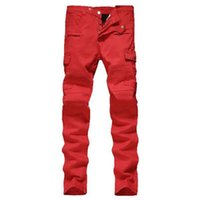 Wholesale Mens fashion red pockets biker jeans Male casual patchwork pleated skinny pencil pants Famous Brand Zipper Designer BALMAIED Jeans for Men