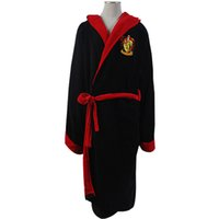 Wholesale Harry Potter Gryffindor Fleece Hooded Bath Robe Manttle Kimono Cloak Bathrobe
