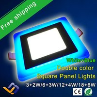 Wholesale New Recessed Square Double Color LED Panel Downlight W W W W LED Panel Lights AC85 V Recessed Ceiling Painel Lights CE ROHS
