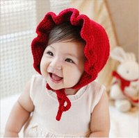 Wholesale newborn handmade crochet flowers hats baby wool hat kids winter caps fashion girls knit hair accessories toddler bonnet photography hats