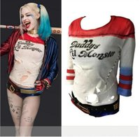 anime t shirts - Hot Sale Suicide Squad Harley Quinn Hole Style T Shirts Daddy s Lil Monster Halloween Anime T Shirts Movie