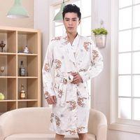Wholesale Plus Size Chinese Men Embroidery Dragon Robes Traditional Male Sleepwear Nightwear Kimono With Bandage price XXXL