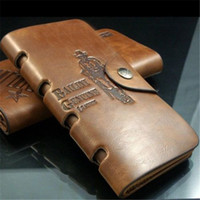 antique coin purse - New Fashion Men Long Paragraph Leather Wallet Vintage Casual Antique Bifold Wallets ID Card Holder Pocket Purse Bag Gift