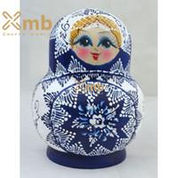 babushka matryoshka - 2016 Matryoshka Russian quot Zhostovo Blue quot pieces Babushka dolls Home Decor