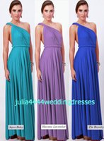 baby convertible - 2016 New Bridesmaid Dresses Wedding Formal Party Gown DIY Convertible Neckline Backless Purple Baby Aqua Lavandar Royal Blue Chiffon Cheap