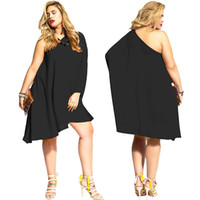 b loose - Fall New Fat Woman Inclined In Europe And The Plus size Women s Sexy Pure Color Shoulder Loose Dress B