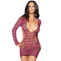 Wholesale New Women Lingerie Erotic Pink Deep V Neck Cut Out Babydolls Sleepwear Sexy See Through Backless Lingerie Nightdress for Women W5156