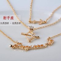american female fashion - NewTwelve constellations multilayer necklace Zinc alloy charm with high quality crystal Fashion Female Jewelry Sagittarius