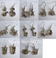 Cheap Wholesale 8pcs Tibetan silver bird elephant fox owl deer animal Charm Earrings charms earring charm hoop earrings