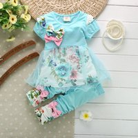 Wholesale 2016 Kids Baby Girl Clothing Set Bowknot Summer Floral T shirts Tops and Pants Leggings Cute Children Outfits Girls Set