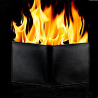 Wholesale Brand New Popular Magic Trick Flame Fire Leather Wallet Magnetic Inconceivable Show Magic Fire Wallet