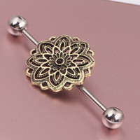 barbell cartilage - Steel Flower Industrial Barbell Piercing Earring Tragus Cartilage Rings Body Jewelry Helix Earring Stud Catchers