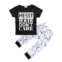 baby hair care - NWT New cute INS Baby Girls Boys Outfits Set Summer Sets Boy Cotton Tops Shirts Harem Pants piece sets Messy Hair Don t Care