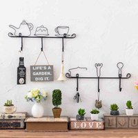 Wholesale Retro Key Hook Household Iron Wall Cafe Creative Wall Hook Iron Key Pendant Lovely Home Wall Hangings Purse Handbag Hook Folding Hanger GJ41