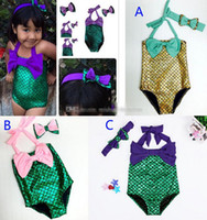 baby fish costumes - 3 Color Girls Fish scales Swimwear baby kids Mermaid Swimsuit with headband Costume Mermaid tail Bathing Swimwear Bowknot Bikini Suit