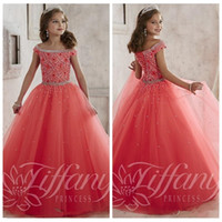 Wholesale 2016 Bateau Beaded Crystal Watermelon Girls Pageant Dresses Cheap Tulle Watermelon Formal Party Teens Kids Birthday Prom Gowns