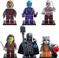 Wholesale 6 set cm SuperHero Guardians of the Galaxy MiniFigure Building Blocks children Toys Assemblage toy