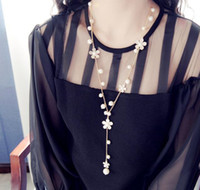 Wholesale korean womens Chains fashion simulated pearl flowers long necklace jewelry gold tone sweet sweater chains colar Accessory