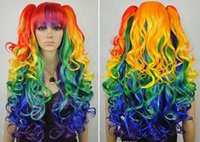 animated style - Animated multicolor cosplay wigs separate two clip ponytail long wavy style Wigs