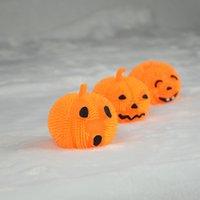 Wholesale 2016 Halloween toys Baby kids pumkin rubber Fuzzy Ball cute face LED lights Yoyo rebound ball children toys gifts kindergarten