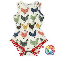 baby girl chickens - New babies romper clothes Baby girls chicken printed rompers Infant pompon tassel playsuits Princess Bodysuits A9051
