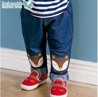 Wholesale Cartoon baby jeans Autumn Fox kids denim New Fall kids girl jeans pants Fashion Fall Children Boys Long Pants Casual Kid Trousers