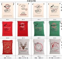 Wholesale 2017 Christmas Large Canvas Monogrammable Santa Claus Drawstring Bag With Reindeers Monogramable Christmas Gifts Sack Bags