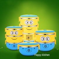 Wholesale Cartoon bento box double insulation pot of small yellow people lunch box Stainless steel tableware