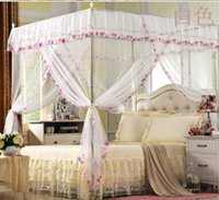 Wholesale Elegant White Four Corner Bed Canopy Mosquito Net Twin