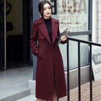 belted tweed coat - 2017 Elegant Women X Long Wool Coat Winter Slim Outerwear Belt Overcoat casaco feminino Elegant long femme plus size Korean Coat FS0904