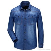 Wholesale Jeep European style Men denim blouse jean shirt slim shirt Dark Blue turn down collar long sleeve denim shirt men cowboy shirt collar jeans