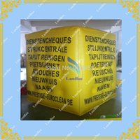 Wholesale m Yellow Inflatable Cube Advertising Balloon with sides Digital Printing LOGO for Advertisement DHL