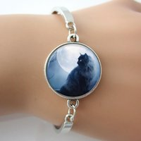 Wholesale New trendy jewelry Glass cabochon Dome Black Cat and moon charm bracelet Animal Jewelry Silver jewelry for Men women GL012