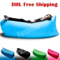Wholesale 2016 New Lamzac Hangout Fast Inflatable Lounger Air Sleep Camping Sofa KAISR Beach Nylon Fabric Sleeping Bag Bed Lazy Chair ourdoor DHL Free