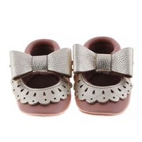 Wholesale New mary jane style moccasins soft sole Genuine leather Baby Infant walker Shoes Girls first walker SHOES tassel shoes color C407